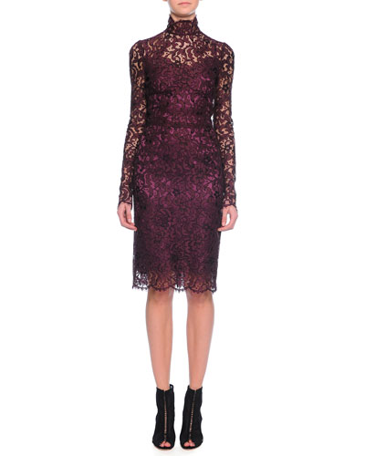 Long-Sleeve Floral-Lace Scalloped Sheath Dress, Aubergine