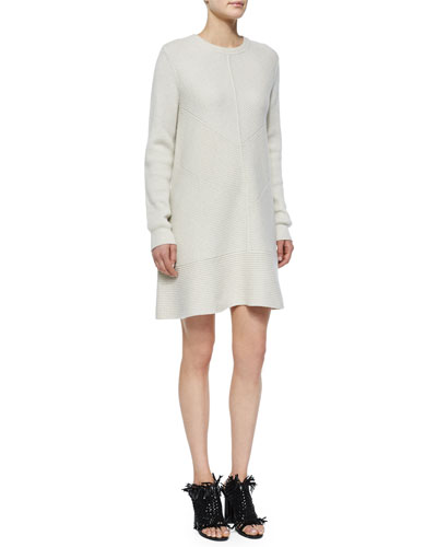 Long-Sleeve Wool-Cashmere Ribbed Dress