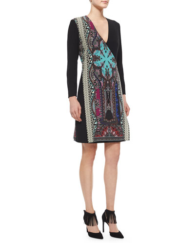 Crossover Tapestry-Print Paneled Dress