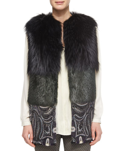 Two-Tone Fur Vest with Paisley-Print Contrast