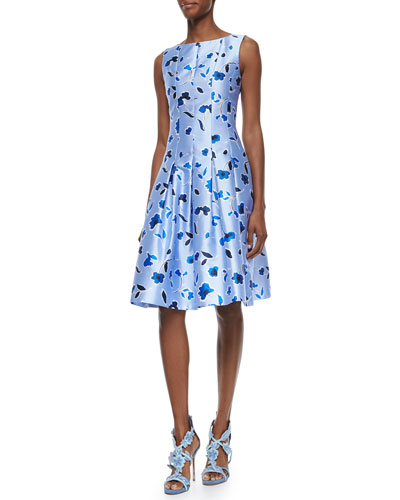 Floral-Print Seamed Dress, Periwinkle