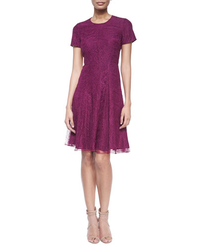 Short-Sleeve Lace Fit-And-Flare Dress