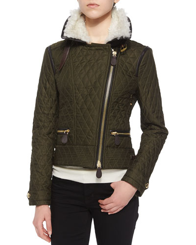 Weatherford Quilted Aviator Jacket W/ Fur Trim