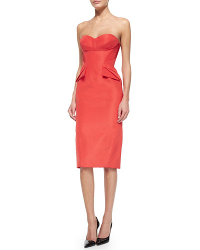 Strapless Folded-Waist Detail Dress, Azalea