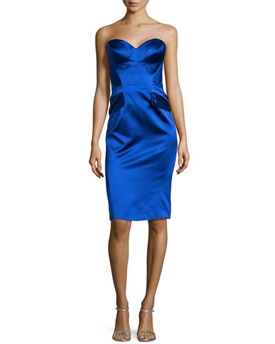 Strapless Split-Peplum Cocktail Dress, Cobalt