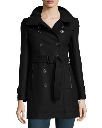 Wool-Blend Zip-Pocket Trench Coat