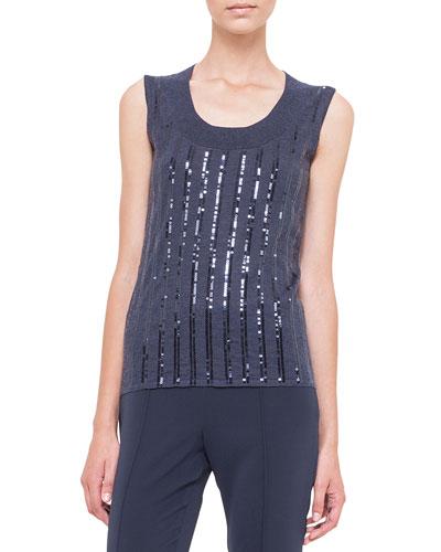 Cashmere-Blend Sequin-Striped Tank Top