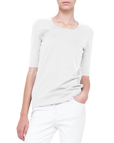 Layered-Front Silk Jersey Tee