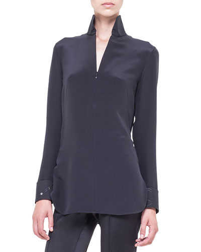 Crepe Zip-Front Star-Cuff Tunic, Black