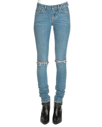 Low-Rise Distressed Skinny Jeans