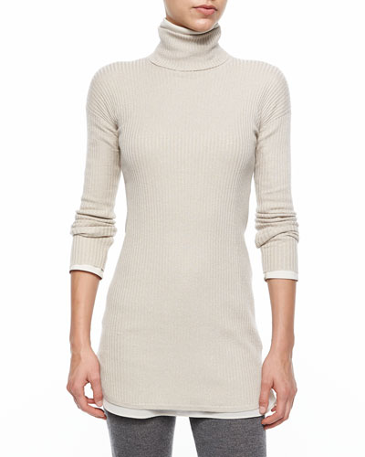 Long-Sleeve Turtleneck Ribbed Sweater, Dove