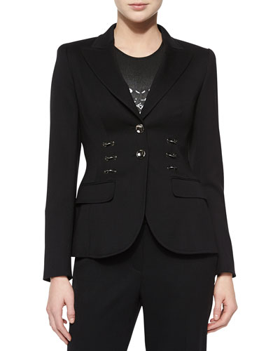 Front Ring-Detail Blazer, Black