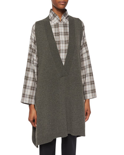 Cashmere V-Neck Sweater Vest, Dark Olive