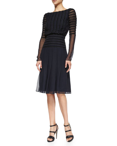 Long-Sleeve Chiffon Cocktail Dress