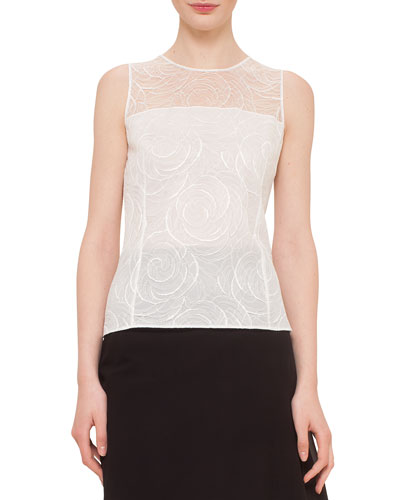 Floral Lace Sleeveless Blouse