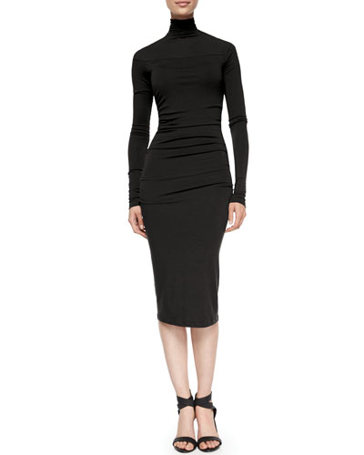 Long-Sleeve Ruched Dress, Black