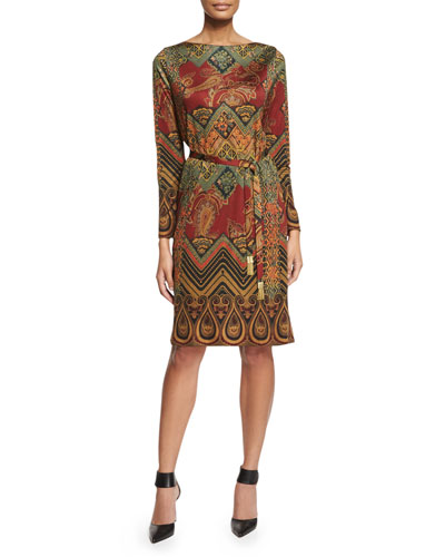 Paisley-Print Belted Dress, Brick