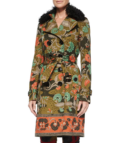 Floral-Print Trenchcoat W/Removable Fur Collar, Antique Green