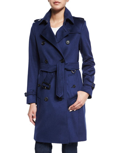 Cashmere Mid-Length Trenchcoat, Empire Blue