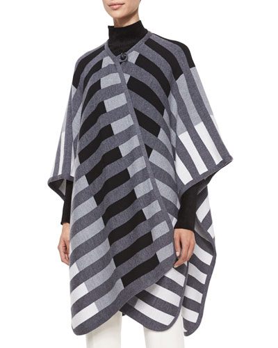Striped Woven Blanket Cape