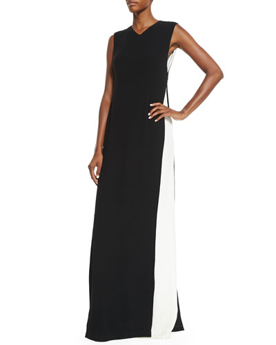 Sleeveless Colorblock Cape Gown, Black/Ivory