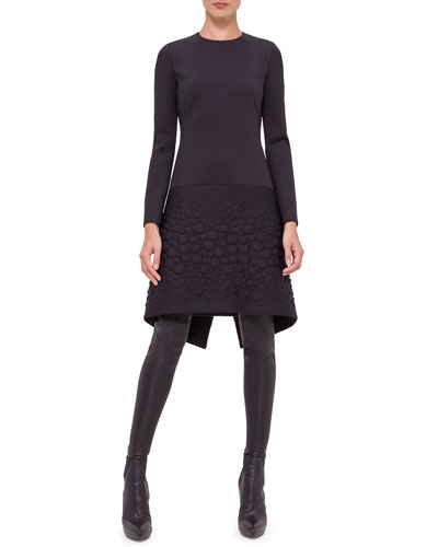 Long-Sleeve Neoprene Apron Dress, Black