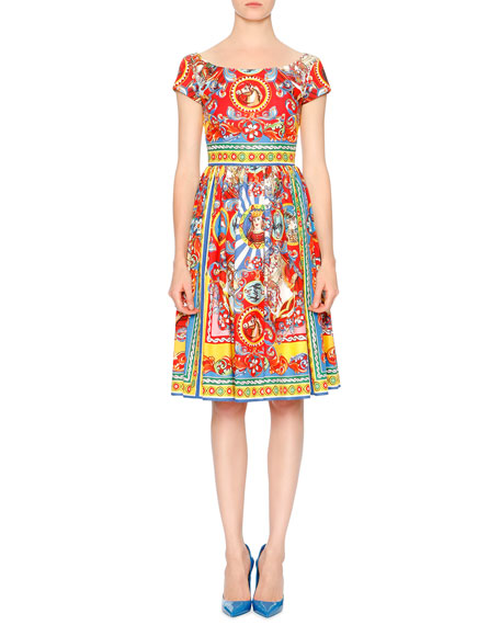 Carretto-Print Cotton Fit-&-Flare Dress, Red/Yellow/Blue