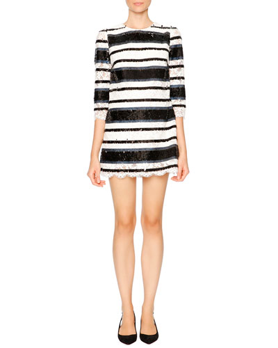 Sequin-Stripe Shift Dress, Blue/White/Black