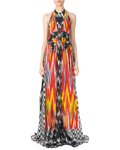 Ikat-Print Georgette Halter Dress, Red