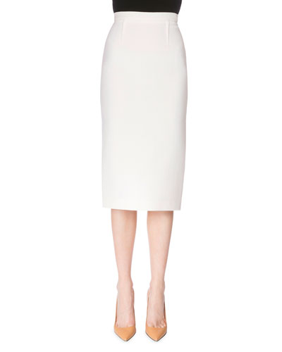 Exposed-Zip Pencil Skirt, White