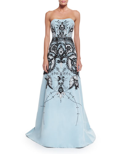 Strapless Embroidered Gown, Baby Blue