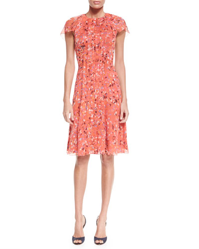 Flutter-Sleeve Printed Day Dress, Coral Multi