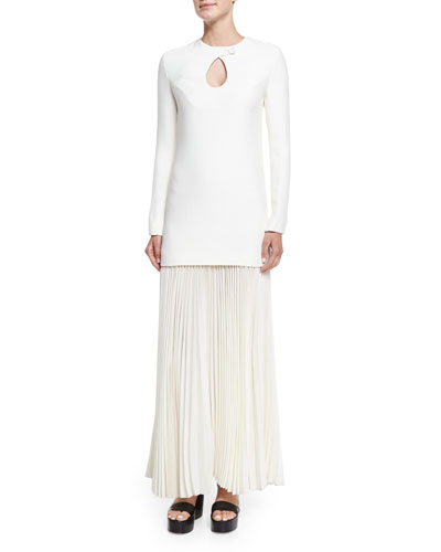 Long-Sleeve Cady Combo Gown W/Pleated Skirt, Ivory