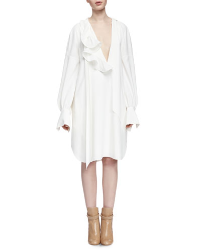 Long-Sleeve Asymmetric Shirtdress, Milk