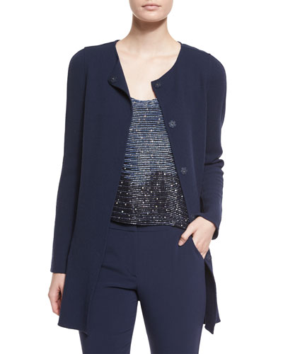 Long-Sleeve Crepe Coat, Navy