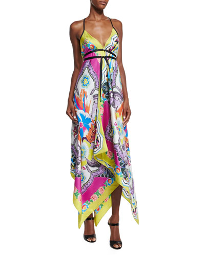 Sleeveless Floral-Print Handkerchief Dress, Yellow Multi