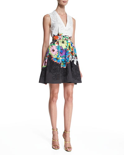 Sleeveless Embroidered Fit-&-Flare Dress, Black/White/Blue