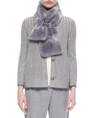 Striped Sheared-Fur Scarf, Light Gray Multi
