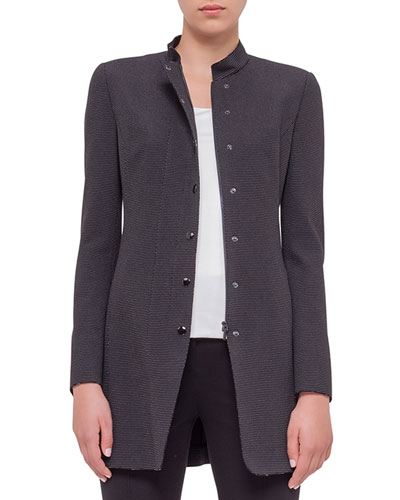 Birdseye-Snap Front Long Jacket, Black Cream