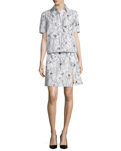 Short-Sleeve Scribble-Print Shirtdress, Chalk/Black