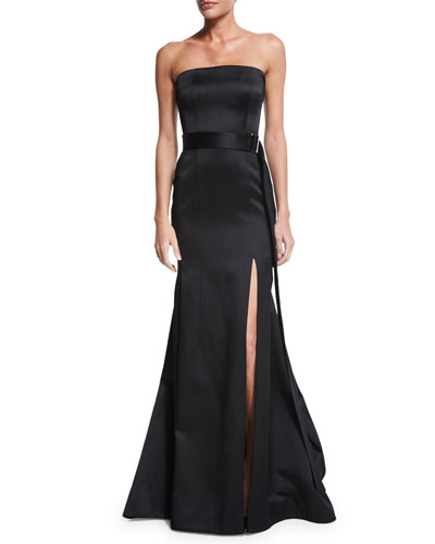 Strapless Mermaid Gown W/Belt, Black
