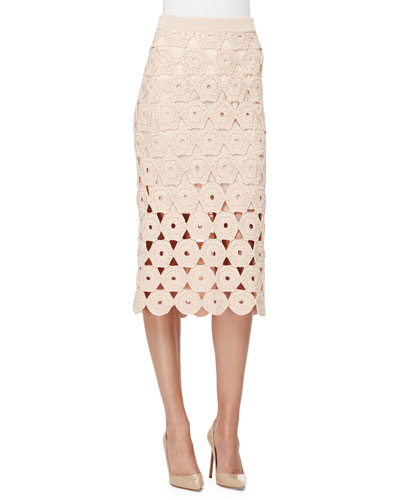 Crochet Midi Pencil Skirt, Blush
