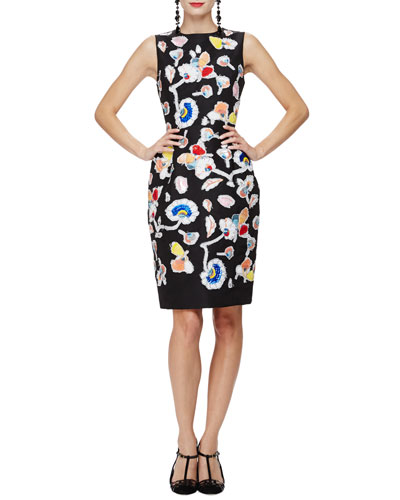 Sleeveless Embroidered Cocktail Dress, Black/Multi