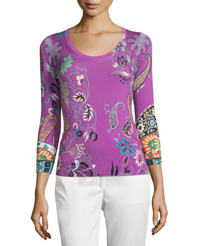 3/4-Sleeve Botanical-Print Sweater, Purple