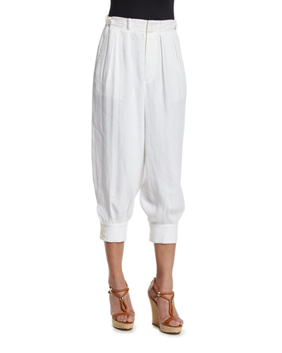 Pleated-Front Cropped Jogger Pants, Ivory