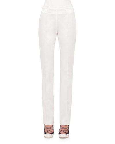 Francoise Straight-Leg Pants, Cream
