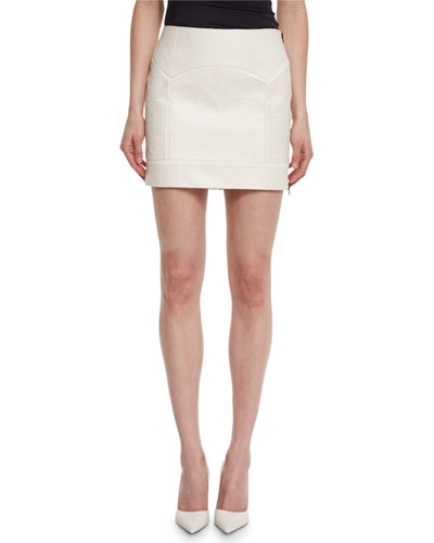 Crocodile-Embossed Leather Mini Skirt, Chalk