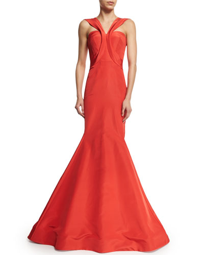 Sleeveless V-Neck Trumpet Gown, Coral