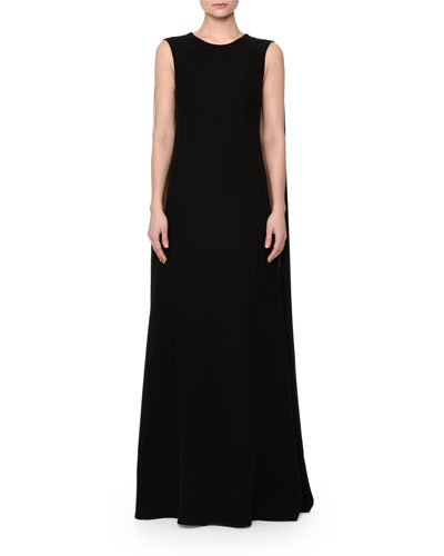 Sleeveless Column Gown W/Cape, Black/Nude