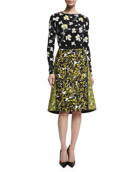 oscar de la renta floral print structured a line skirt